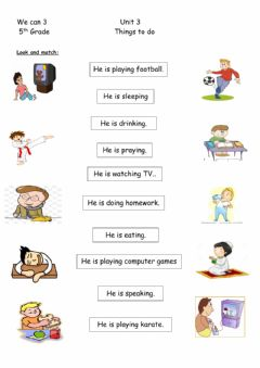 Interactive worksheet Things to do
