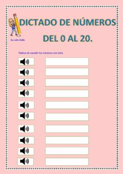 Interactive worksheet Dictado de números del 0 al 20.