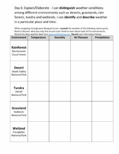 Interactive worksheet Weather Data Collection Table