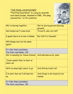 Interactive worksheet The final countdown