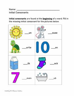Interactive worksheet Initial Consonants - S,M and T