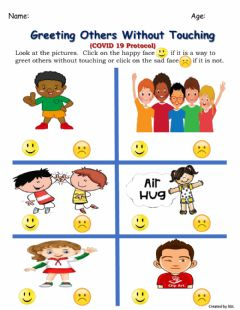 Interactive worksheet Greeting Others Without Touching