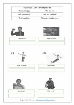 Interactive worksheet Super Goal1 - Unit3 WORKBOOK P 99