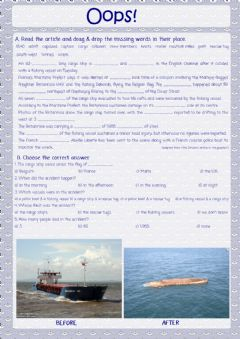 Interactive worksheet Freighter Capsized in English Channel article.