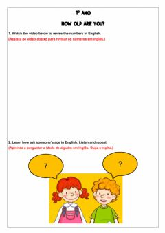 Interactive worksheet 1º ano - How old are you?