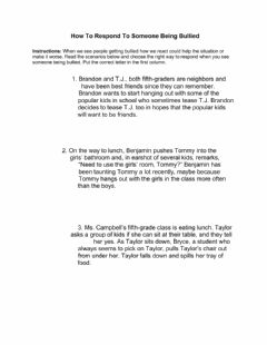Interactive worksheet How To Respond To Someone Being Bullied