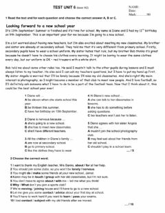 Interactive worksheet Laser A2- Test Unit 6