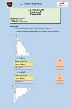 Interactive worksheet Trigonometria