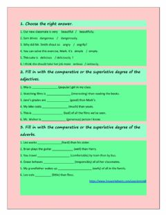 Interactive worksheet COMPARATIVE& SUPERLATIVE DEGREES (adjectives & adverbs)