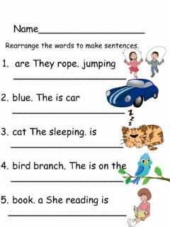 Interactive worksheet Rearranging sentences