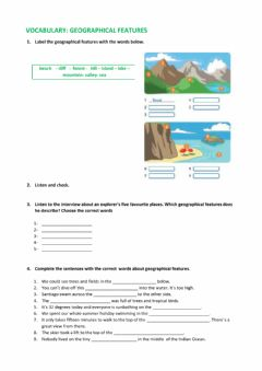 Interactive worksheet Vocabulary: Geographical features