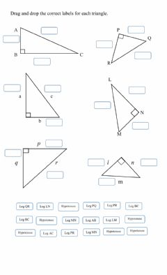 Interactive worksheet Legs and Hypotenuse of Triangles