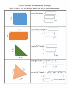 Interactive worksheet Area of Squares, Rectangles and Triangles