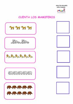 Interactive worksheet Contar mamiferos