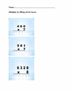 Ficha interactiva Multiplication of Multi-digit by one digit