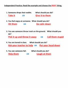 Interactive worksheet Do the right thing Independent
