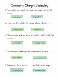 Interactive worksheet Community Changes Vocabulary