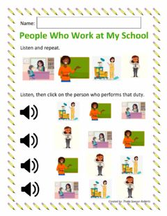 Interactive worksheet People Who Work At My School