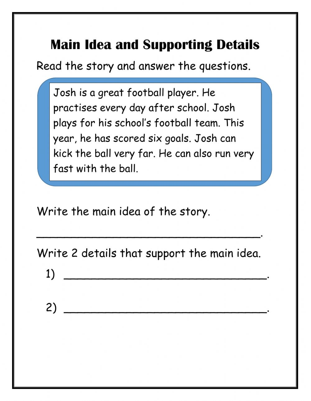 Main Idea with supporting details worksheet
