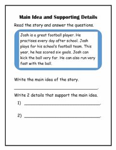 Interactive worksheet Main Idea with supporting details