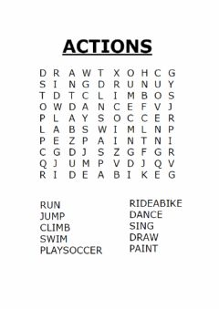 Interactive worksheet Actions wordsearch