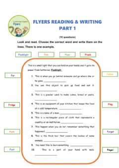 Interactive worksheet FLYERS reading & writing Part 1-2