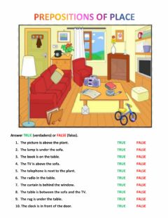 Interactive worksheet True or false Prepositions of place
