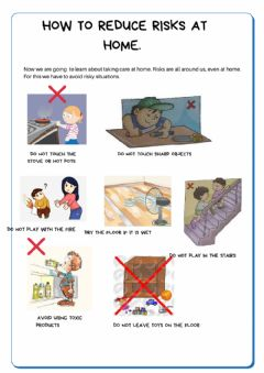 Interactive worksheet How to reduce risks at home.