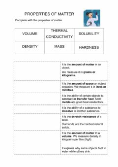 Interactive worksheet Properties of matter