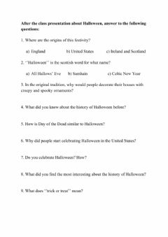 Interactive worksheet The History of Halloween
