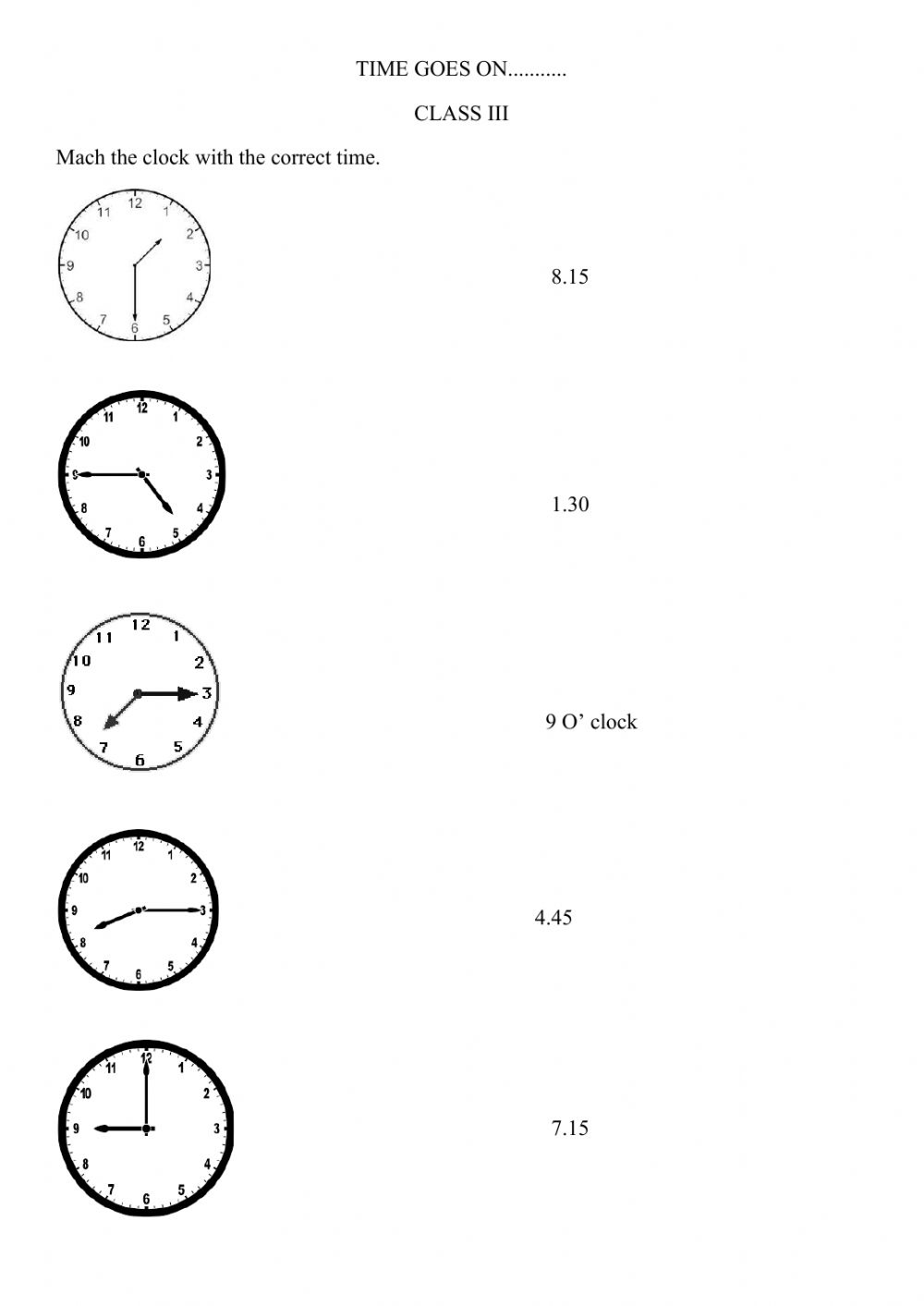 Time online exercise for GRADE 20
