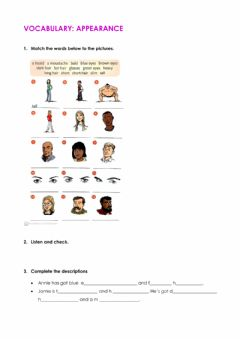 Interactive worksheet Vocabulary: appearance