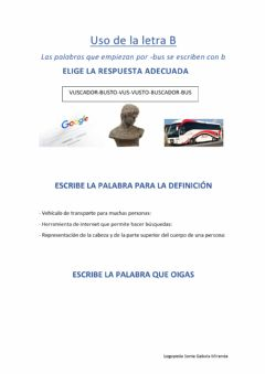 Interactive worksheet Palabras con bus