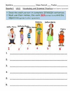 Ficha interactiva Descriptions-Nouns-Adjectives Agreement