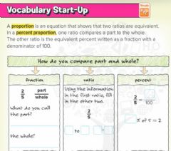 Interactive worksheet Vocabulary check up- Solve percent Problems