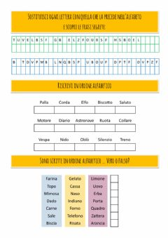 Interactive worksheet Ordine Alfabetico