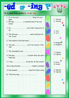 Interactive worksheet Participle adjectives