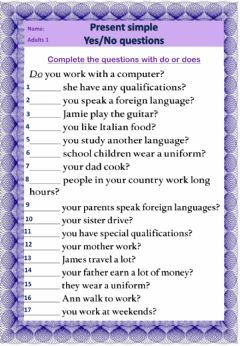 Interactive worksheet Yes no questions present simple