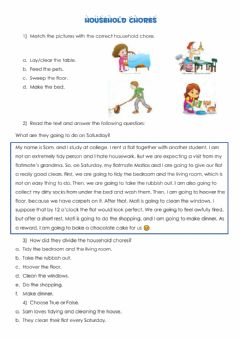 Interactive worksheet Household chores Reading comprehension