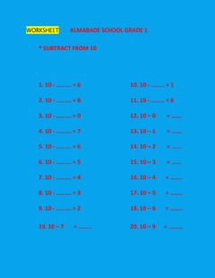 Interactive worksheet Subtract from 10