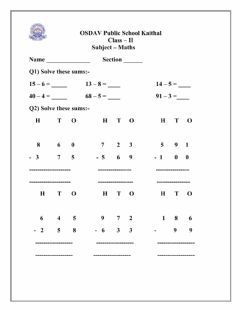 Interactive worksheet Subtraction