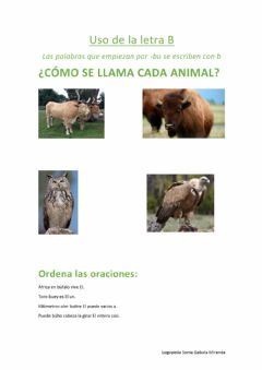 Interactive worksheet Animales con Bu.