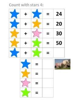 Interactive worksheet Count with stars 4
