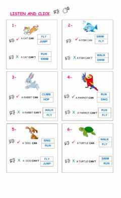Ficha interactiva Pets and abilities
