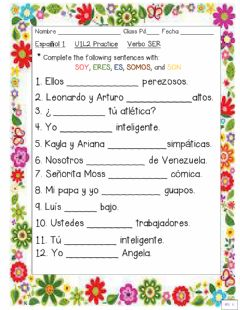 Interactive worksheet Verbo SER