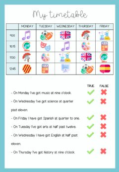 Interactive worksheet MY TIMETABLE cover