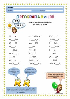 Interactive worksheet Ortografia - R ou RR