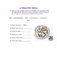 Interactive worksheet A healthy meal