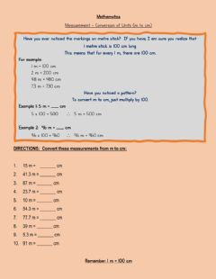 Interactive worksheet Converting Units - m to cm