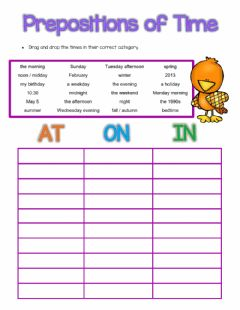 Interactive worksheet Prepositions of Time AT - ON -  IN